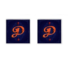 Marquis Love Dope Lettering Blue Red Orange Alphabet P Cufflinks (square) by Mariart