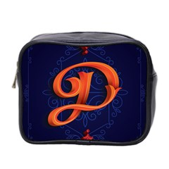Marquis Love Dope Lettering Blue Red Orange Alphabet P Mini Toiletries Bag 2 Side