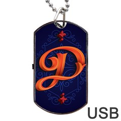 Marquis Love Dope Lettering Blue Red Orange Alphabet P Dog Tag Usb Flash (one Side) by Mariart
