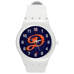 Marquis Love Dope Lettering Blue Red Orange Alphabet P Round Plastic Sport Watch (m) by Mariart