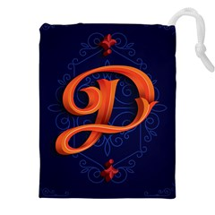 Marquis Love Dope Lettering Blue Red Orange Alphabet P Drawstring Pouches (xxl) by Mariart