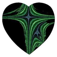 Line Light Star Green Black Space Jigsaw Puzzle (heart) by Mariart