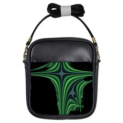 Line Light Star Green Black Space Girls Sling Bags by Mariart