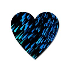 Meteor Rain Water Blue Sky Black Green Heart Magnet by Mariart