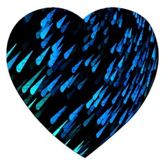 Meteor Rain Water Blue Sky Black Green Jigsaw Puzzle (heart) by Mariart