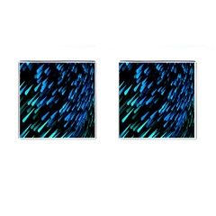 Meteor Rain Water Blue Sky Black Green Cufflinks (square) by Mariart