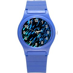Meteor Rain Water Blue Sky Black Green Round Plastic Sport Watch (s) by Mariart