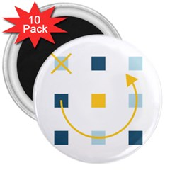 Plaid Arrow Yellow Blue Key 3  Magnets (10 Pack)  by Mariart