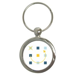 Plaid Arrow Yellow Blue Key Key Chains (round)  by Mariart