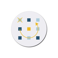 Plaid Arrow Yellow Blue Key Rubber Round Coaster (4 Pack)  by Mariart