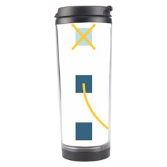 Plaid Arrow Yellow Blue Key Travel Tumbler by Mariart