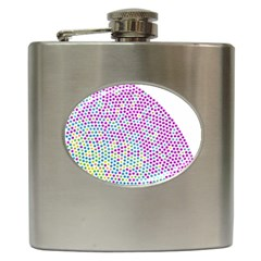 Japanese Name Circle Purple Yellow Green Red Blue Color Rainbow Hip Flask (6 Oz) by Mariart