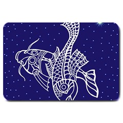 Pisces Zodiac Star Large Doormat  by Mariart