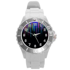 Rain Color Paint Rainbow Round Plastic Sport Watch (l) by Mariart