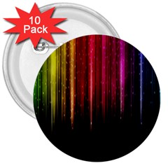 Rain Color Rainbow Line Light Green Red Blue Gold 3  Buttons (10 Pack)