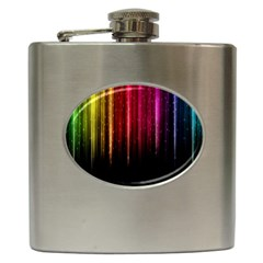 Rain Color Rainbow Line Light Green Red Blue Gold Hip Flask (6 Oz)