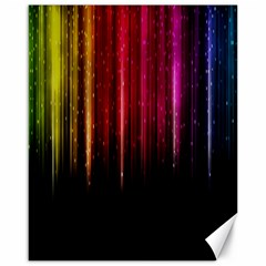 Rain Color Rainbow Line Light Green Red Blue Gold Canvas 16  X 20   by Mariart
