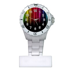 Rain Color Rainbow Line Light Green Red Blue Gold Plastic Nurses Watch by Mariart