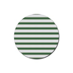 Plaid Line Green Line Horizontal Rubber Coaster (round)  by Mariart