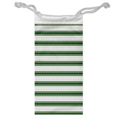Plaid Line Green Line Horizontal Jewelry Bag by Mariart