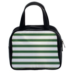 Plaid Line Green Line Horizontal Classic Handbags (2 Sides) by Mariart