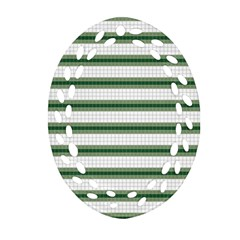 Plaid Line Green Line Horizontal Oval Filigree Ornament (two Sides) by Mariart