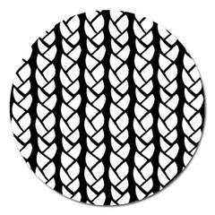 Ropes White Black Line Magnet 5  (round) by Mariart