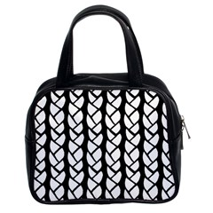 Ropes White Black Line Classic Handbags (2 Sides) by Mariart