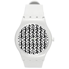 Ropes White Black Line Round Plastic Sport Watch (m) by Mariart