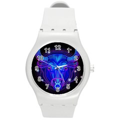 Sign Taurus Zodiac Round Plastic Sport Watch (m) by Mariart