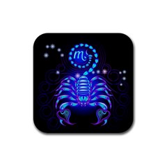 Sign Scorpio Zodiac Rubber Square Coaster (4 Pack)  by Mariart