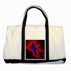 Space Red Blue Black Line Light Two Tone Tote Bag by Mariart