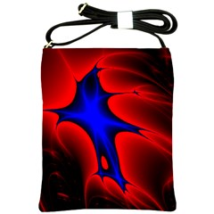 Space Red Blue Black Line Light Shoulder Sling Bags by Mariart