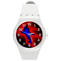 Space Red Blue Black Line Light Round Plastic Sport Watch (m) by Mariart