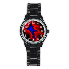 Space Red Blue Black Line Light Stainless Steel Round Watch by Mariart
