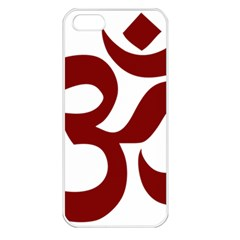 Hindu Om Symbol (dark Red) Apple Iphone 5 Seamless Case (white) by abbeyz71