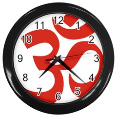 Hindu Om Symbol (red) Wall Clocks (black)