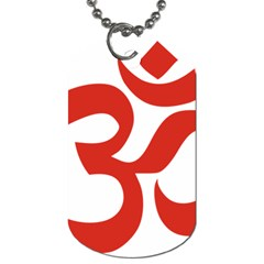 Hindu Om Symbol (red) Dog Tag (one Side) by abbeyz71
