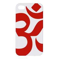Hindu Om Symbol (red) Apple Iphone 4/4s Hardshell Case by abbeyz71