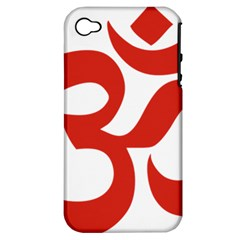 Hindu Om Symbol (red) Apple Iphone 4/4s Hardshell Case (pc+silicone) by abbeyz71