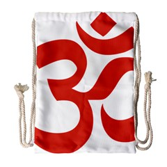 Hindu Om Symbol (red) Drawstring Bag (large) by abbeyz71