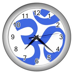 Hindu Om Symbol (royal Blue) Wall Clocks (silver)