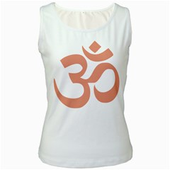 Hindu Om Symbol (salmon) Women s White Tank Top by abbeyz71