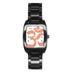 Hindu Om Symbol (salmon) Stainless Steel Barrel Watch by abbeyz71