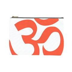 Hindu Om Symbol (peach) Cosmetic Bag (large)  by abbeyz71