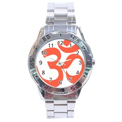 Hindu Om Symbol (peach) Stainless Steel Analogue Watch by abbeyz71