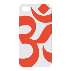 Hindu Om Symbol (peach) Apple Iphone 4/4s Premium Hardshell Case by abbeyz71