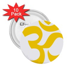 Hindu Om Symbol (yellow) 2 25  Buttons (10 Pack)  by abbeyz71