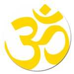 Hindu Om Symbol (Yellow) Magnet 5  (Round) Front