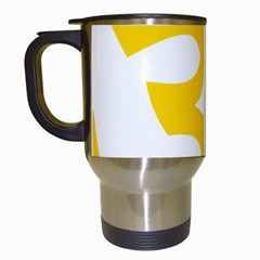 Hindu Om Symbol (yellow) Travel Mugs (white) by abbeyz71